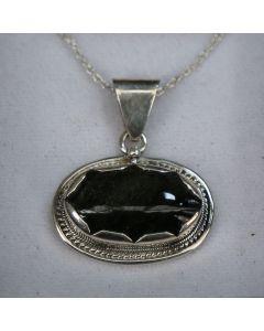 Dije de obsidiana plateada y plata