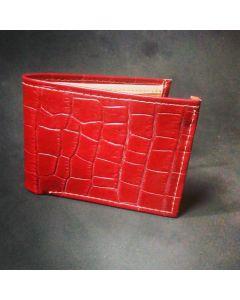 Billetera artesanal en Cuero Charlado, color rojo.